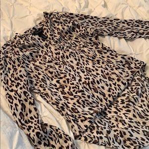 White House Black Market Leopard Print Top